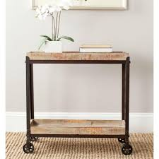 mobile console safavieh sally and black brushed mobile console table