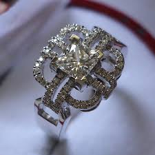 sterling diamond china popular knot 1ct princess ring sterling silver jewelry