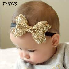 accessories hair twdvs newborn shiny bow knot hair band kids elastic bow