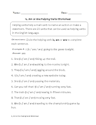 verbs worksheets helping verbs worksheets