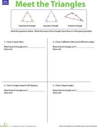 4th grade 5th grade math worksheets 4 types of triangles math