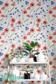 Watercolour Poppy Flower Print Temporary Wallpaper Vinyl - Poppy wallpaper home interior