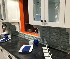 Profile Cabinets Kansas City by Byzantine Alice Blue 3d Ceramic Tile Backsplash With Soapstone