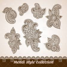 mehndi style ornamental design elements vector clipart image