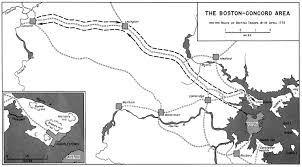 American Route Map by Map Of The Boston Concord Area Route Of British Troops April 1775