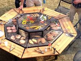Firepit Bbq Pit Table Grill Bbq Picnic Table Outdoor Fireplaces