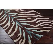 Brown Zebra Area Rug Tufted Brown Blue Zebra Animal Print Retro Chic Area Rug 3 6