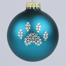 turquoise paw print ornament and cat paw print