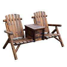 Adirondack Patio Chair Wooden Outdoor Two Seat Adirondack Patio Chair W Ice Bucket