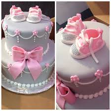 pink baby converse with bling pink and gray baby shower cake