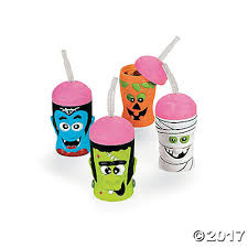 Halloween Cups Brain Head Cups With Straws