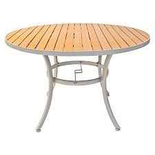 48 round teak table top outdoor synthetic teak restaurant table top aluminum edge includes