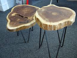 Hairpin Legs Los Angeles by Rustic Tree Trunk Tables With 1950s French Style Hairpin Legs