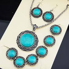 tibetan silver turquoise necklace images New arrival 3pcs vintage antique tibetan silver natural stone oval jpg