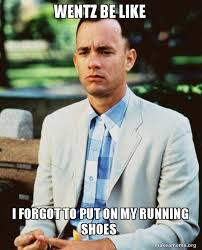 I Make Shoes Meme - wentz be like i forgot to put on my running shoes forrest gump