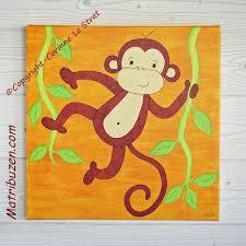 toile chambre bébé tableau petit singe de la savane un joli tableau pour la décoration