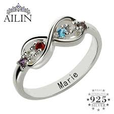mothers ring with names infinity birthstone rings personalized s ring silver