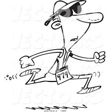 vector of a cartoon man running in a triathlon coloring page