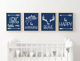 Navy Nursery Decor Nursery Wall Set Of 4 Prints Be Happy Be Brave Navy