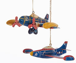 tin airplane ornaments set of 2 mypilotstore