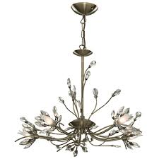 Chrome Pendant Light Fittings by Antique Brass 5 Light Fitting With Crystal Petals