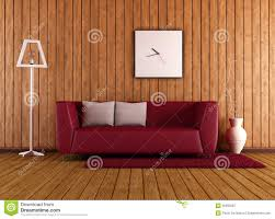 Red Sofa In Living Room by Wooden Living Room With Red Couch Royalty Free Stock Photography