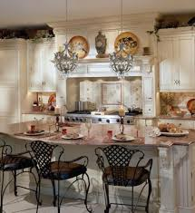 italian kitchen ideas wrought iron metal chairs and mini chandelier using white