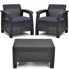 Resin Patio Table And Chairs Amazon Com Keter Corfu All Weather Resin Outdoor Furniture Patio