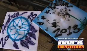 customized graduation caps igor s t shirts airbrush embroidery and iron on photo transfer