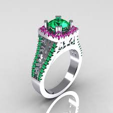 emerald engagements rings images Modern armenian vintage 14k white gold 1 0 carat emerald pink jpg