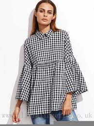 baby doll blouses black gingham bell sleeve babydoll blouse 100 cotton s m