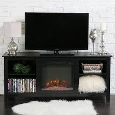 gorgeous black finish tv stand with fireplace 2 shelves with