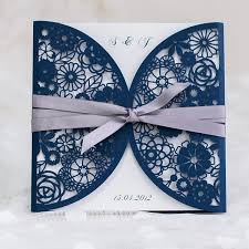 blue wedding invitations navy blue laser cut wedding invitations with ribbon