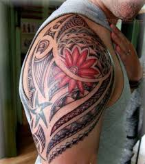 half sleeve koi fish and lotus tattoo design for men photo 3