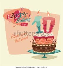 retro vintage happy birthday card cake stock vector 141193009