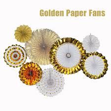 hanging paper fans luxury gold set 8pcs thick paper fan wedding engagement party