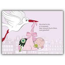sprüche zur geburt eines mädchens süße baby mädchen glückwunschkarte zur geburt in rosa mit storch