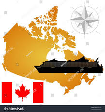 A Map Of Canada by Vector Map Canada Silhouette Ship Flag Stock Vector 68865796