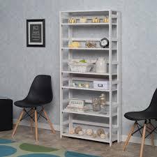 Iron Folding Bookcase Niche Flip Flop White 6 Shelf 30 In Wide Folding Bookcase