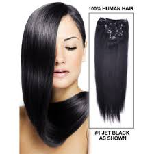 1 inch of hair 9 pcs jet black 1 ultimate silky straight brazilian clip in hair