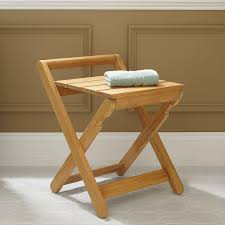 Teak Wood Shower Bench Bath Stool Signature Hardware