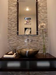 powder room featuring erin adams glass mosaic tile on wall from