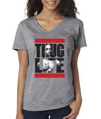 new way 417 women u0027s v neck t shirt tupac 2pac thug life run dmc