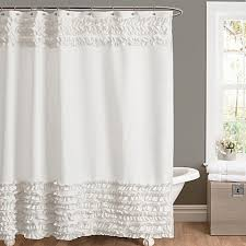 Ruffled Shower Curtains Amelie Ruffle Shower Curtains In White Bed Bath Beyond