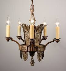 Brass Antique Chandelier Splendid Antique Art Deco Five Light Chandelier In Bronze U0026 Brass
