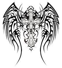 tribal angel wings and cross