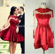 turmec short red lace long sleeve dress