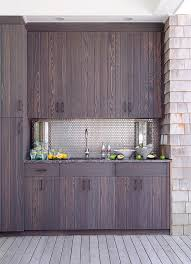 Outdoor Cabinets And Countertops Outdoor Kitchen With Stainless Steel Mini Brick Tile Backsplash