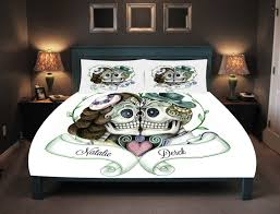 his and hers bed set personalized skull bedding sugar skull duvet cover set