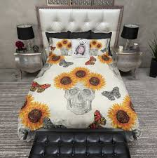 Sunflower Bed Set Butterfly Sunflower Skull Bedding Ink And Rags
